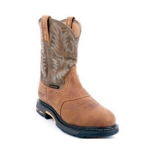 Ariat Para Hombre workhog tirar-en botas H2O 10008633 Nuevo en Caja de corteza verde Militar Nuevo En Caja