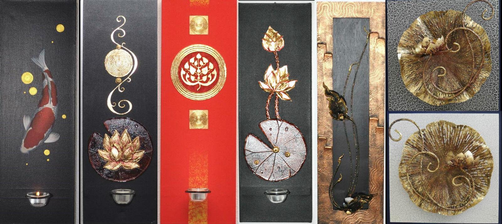 Ölgemälde Wandleuchter Kerzenhalter Koi Lotus etc f.Teelicht, div. tolle Modelle | Elegant Und Würdevoll