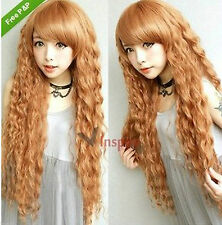 30 inches Long Curly Blonde Fashion Harajuku Party Wig With Bangs Wigs Have Cap