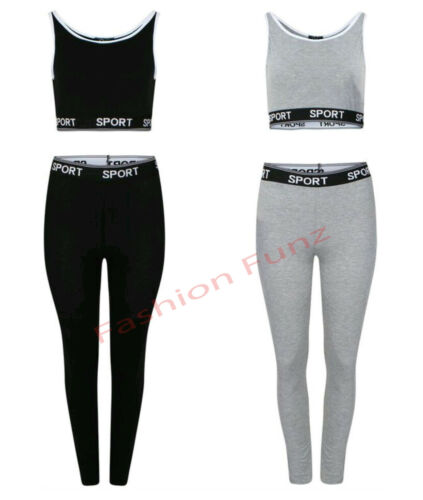 Womens Ladies Plain Elasticated Waist Sport Logo Crop Top Legging Two Piece Set