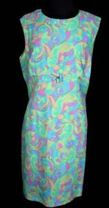 RARE-FRENCH-VINTAGE-1960-039-S-1970-039-S-COLORFUL-MOD-PRINT-POLY-DRESS-SIZE-10-12