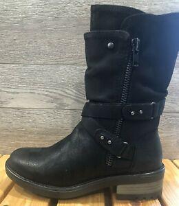 B52 by BullBoxer - Jury Black Mid Calf Combat Boots - Side Zip Women's Boots    eBay