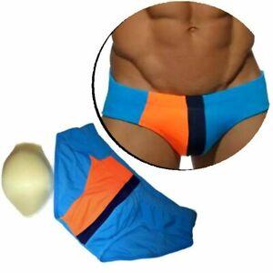 Männer Badehose PushUp mit 3D Pad Herren Schwimmhose Badeslip Blau  M L XL XXL