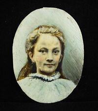"""Portrait de jeune fille miniature sur plaque d'os ou autre signé """"Allic"""" ? c1900"""