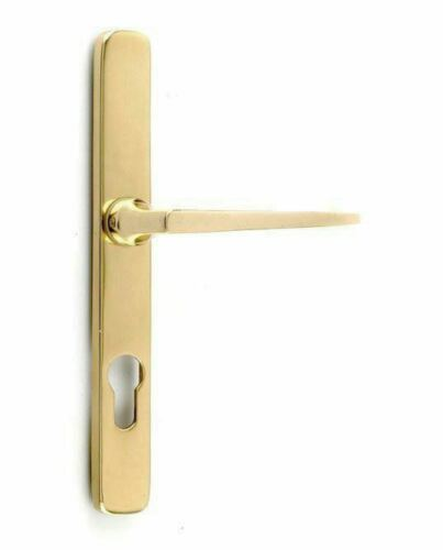 Pair of UPVC Profile Euro Lock Contemporary Brass Door Handles
