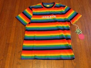 088941e6df81 Image is loading Guess-Jeans-Sean-Wotherspoon-Farmers-Market-Rainbow -Striped-
