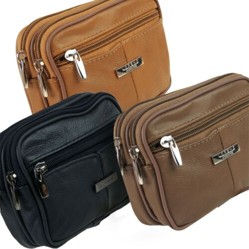 Cowhide Leather Belt Bag//Purse Man Bag by Lorenz Phone Camera 3 Zips