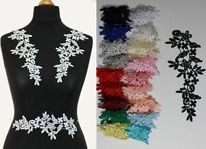 2-x-Floral-lace-Applique-decorative-sewing-lace-motif-Various-colours-6