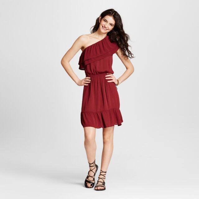 16076f8293fe Mossimo S Maroon Short Dress Summer Ruffle One Shoulder Rayon Sleeveless  Swing