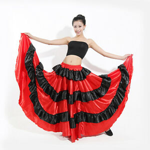 Spanish-Flamenco-Belly-Dance-360-Degree-Circle-Open-Big-Skirt-Costume
