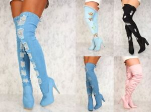 Blue-Brown-Black-Distressed-DENIM-THIGH-HIGH-BOOTS-ZIPPER-ACCENT-FAUX-Suede