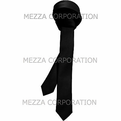 "New Vesuvio Napoli Men/'s 2.5/"" skinny necktie only solid polyester prom Black"