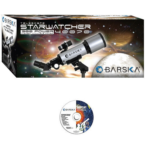 BARSKA 40070 Starwatcher Refractor Telescope w/ Case, Tripod & Software, AE10100