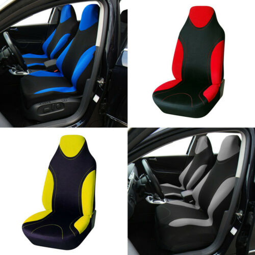 1x Universal Car SUV Front Seat Cover Blue+Black Polyester Fabric Seat Protector