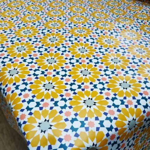 Yellow Ochre Flower Geometric Pattern PVC Vinyl Wipe Clean Oilcloth Tablecloth