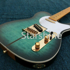 2020-In-stock-TL-Electric-Guitar-Green-Color-2-Pickups-Maple-Top-Free-Shipping