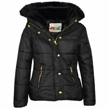 bf7d4bd60 Kids Wet LOOK Shiny Girls Puffer Quilted Padded Faux Fur Bubble Boys ...