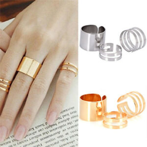 Punk-Stack-Plain-Band-Knuckle-Midi-Mid-Finger-Open-Rings-Set-Jewelry-GG-amp-USA