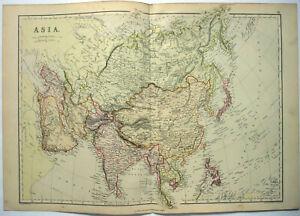 Original-1882-Map-of-Asia-by-Blackie-amp-Son-China-Japan-India-Indochina-Malaya