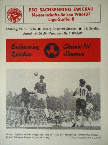 Chemie IW Ilmenau Programm 1986//87 BSG Sachsenring Zwickau
