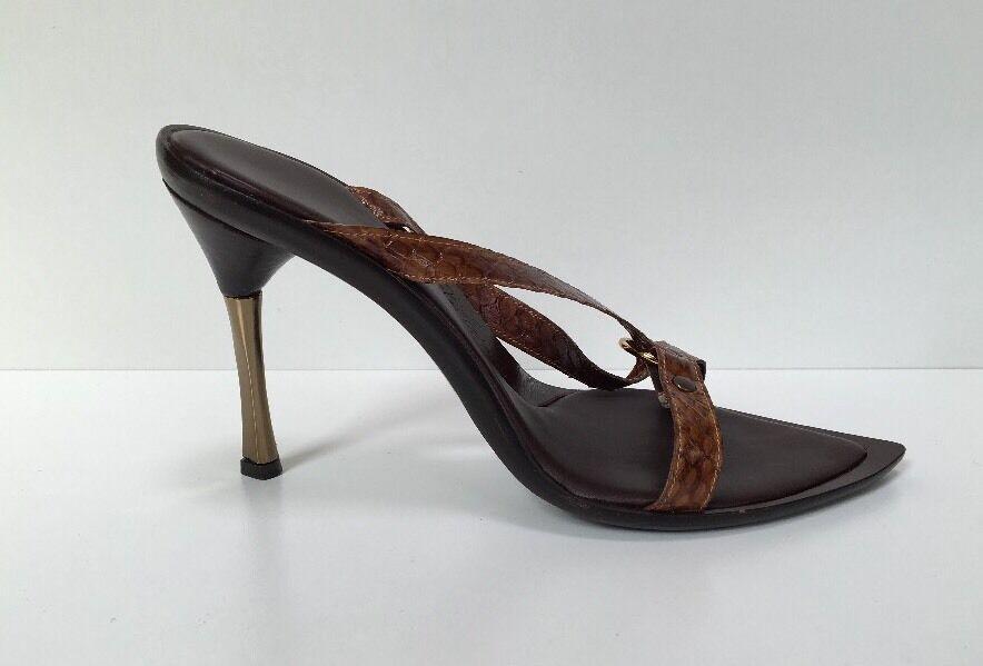 Les Copains Sz / 38 EU / Sz 7.5 US  Braun Snakeskin Strappy Gold  High Heel Sandales 8bfb33