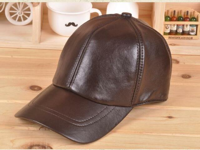Men's Genuine Leather Black Adjustable Casual Sport Baseball Cap Newest Style