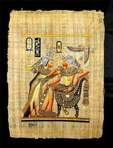 rare authentic hand painted ancient egyptian papyrus king