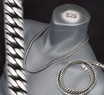 """26"""" 180g HEAVY DOUBLE CURB LINK CHAIN 925 STERLING SILVER MENS NECKLACE PRE"""