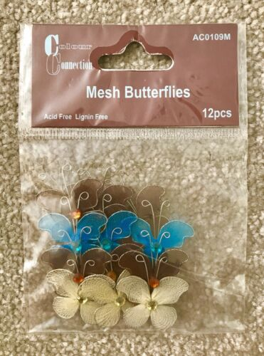 Crafts /& Cards 12pcs Mesh /& Wire Butterfly Embellishments Brown Ivory Aqua