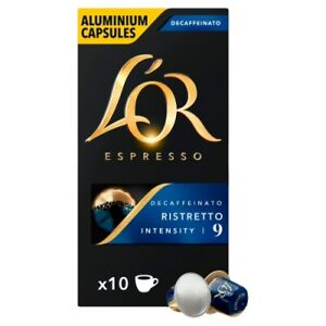 L'OR 100 Nespresso Compatible Capsules Ristretto Decaf (10 Packs of Coffee Pods)