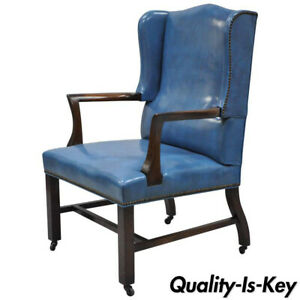 Super Details About Blue Leather Mahogany Sloane Office Desk Library Wing Chair After Edward Wormley Spiritservingveterans Wood Chair Design Ideas Spiritservingveteransorg