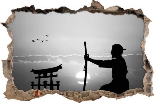 alter Samurai-Meister vor Horizont Kunst B/&W 3D-Look Durchbruch Wandtattoo Auf