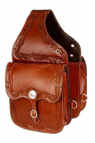 Acorn Tooled  Leather Western Saddle Bags Motorcycle w  Engraved Conchos 101SB  authentic