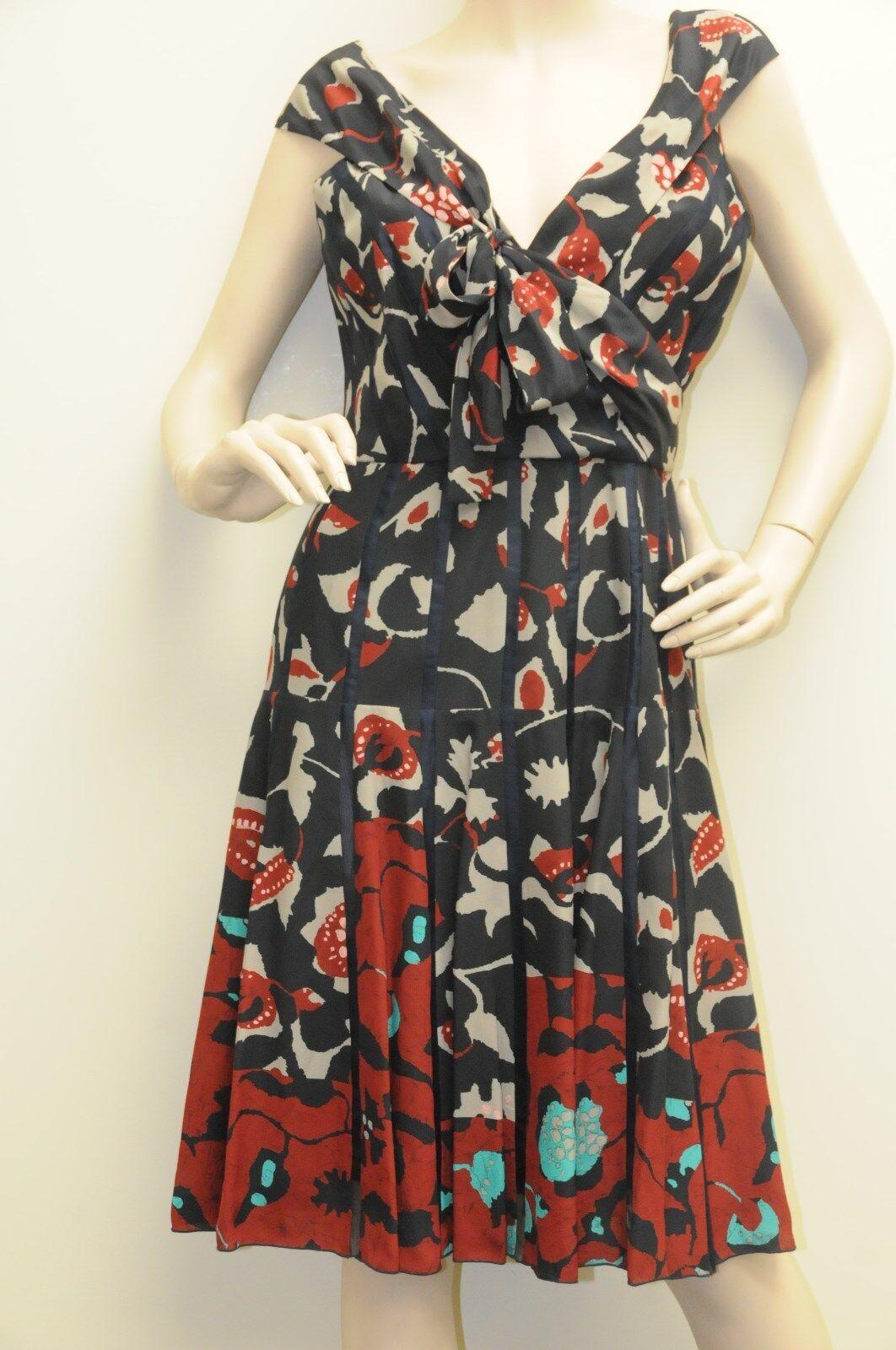 c560fd9d222f56 Neu Oscar De La Renta Batikdruck Blaumenmuster Seidenschleife R12 Kleid  Kleid Kleid 6 95006c