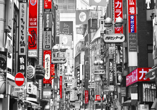 BLACK WHITE RED TOKYO JAPAN CITY MODERN PRINT  PICTURE POSTER WALL ART A4
