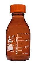 Reagent Bottle 500ml Amber Borosilicate Glass Graduated Eisco Labs