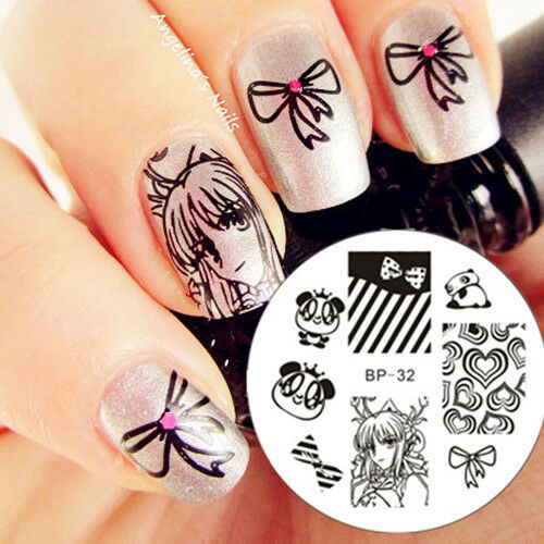 Nail Art Stamping Plate Cartoon Lovely Panda Image Template #32 BORN PRETTY