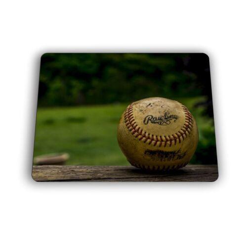 Baseball Rawlings Baseball on Bench Computer Mouse Pad Size Mousepad