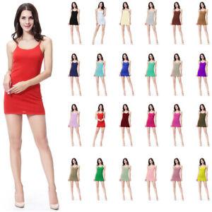 Women-Plain-Elastic-Spaghetti-Strap-Long-Tank-Top-Mini-Dress-Basic-Camisole-Slip