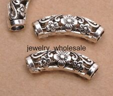 10Pcs Tibetan Silver Ellipse Shaped Hollow Spacer Beads For Jewellry 18X10MM A22