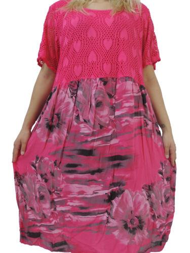 Tolles Damen Kleid Größe 46 48 50 52 54 Kleider Übergröße Bumenmuster Spitze