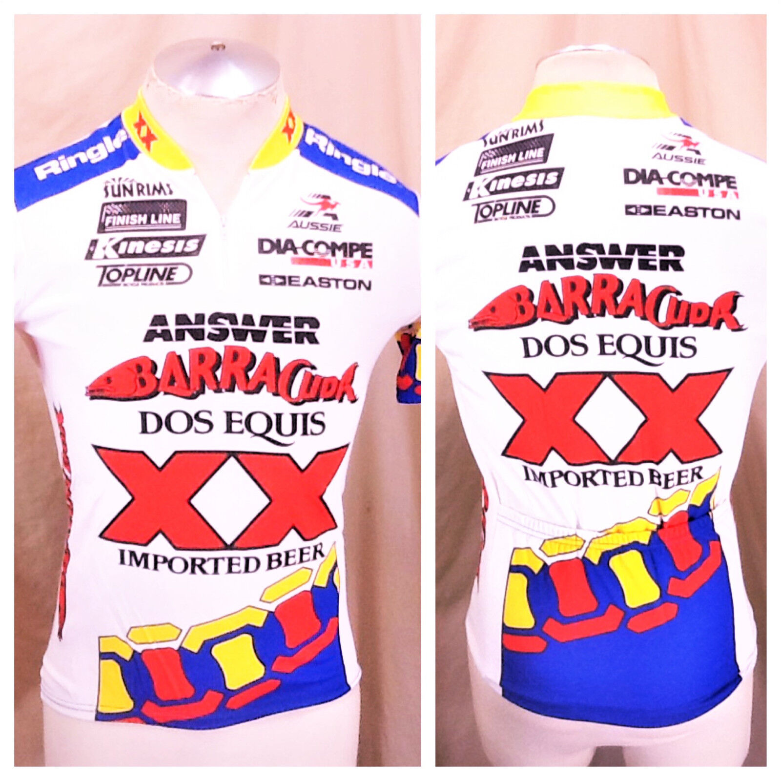 Vintage Aussie Dos Equis Imported Beer (Small) 1 4 Zip Up Cycling Jersey White