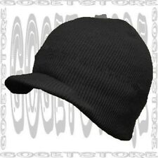 Acrylic Brim Knit Black Stocking Beanie Skull Cap Winter Visor Hat Men Women