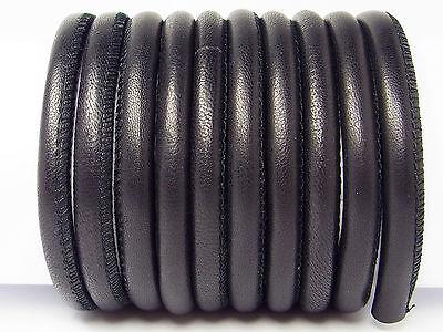 Weiches Nappaleder, rund gesäumt, 5 mm, schwarz, 20 cm, (9,50€/m); *2853