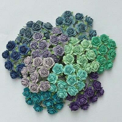 100 Mixed Mulberry Paper Rose Artificial Flower 15 mm/0.6 Inch Blue/Green/Purple
