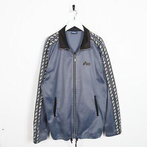 Vintage-90s-Asics-Piccolo-Logo-Nastro-Braccio-Pista-Top-Giacca-Blu