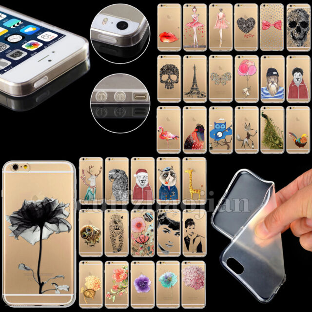 Cute Chic Pattern Ultra Slim Transparent TPU Soft Case Cover Skin For iPhone 5