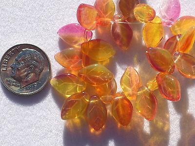 (15) Czech Pressed Glass 12x7mm Leaf Beads - Trans Cranberry/Lemon - #42-556