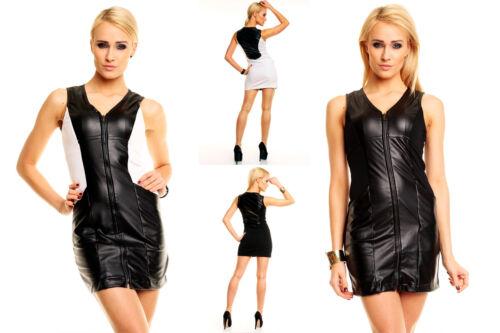 Leder Kleid aus Lederimitat Businesskleid Partykleid Minikleid Lederkleid