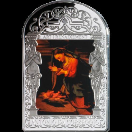 Andorra 2013-15 Diner Correggio Adoration of the Child 50g LIMITED Silve